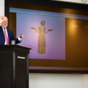 Freeman's Chairman Alasdair Nichol presides over the auction of Sylvia Shaw Judson's 'Bird Girl' on June 6. The sculpture realized $390,600.