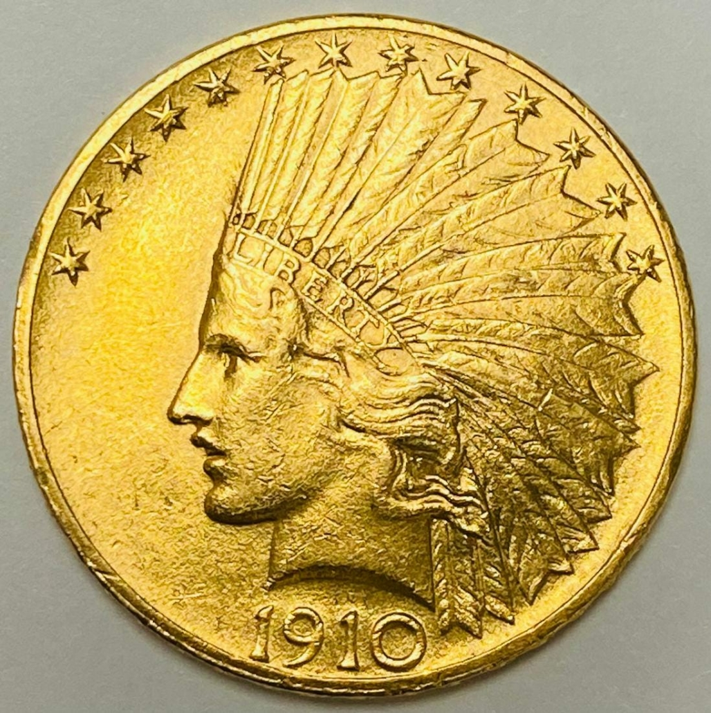 1910 $10 Gold Indian Head coin, designed by Augustus Saint Gaudens, which sold for $1,020 on Nov. 15, 2020 at Andrew Charbonneau (Andrew's Coin & Jewelry) in Delray Beach, Fla.