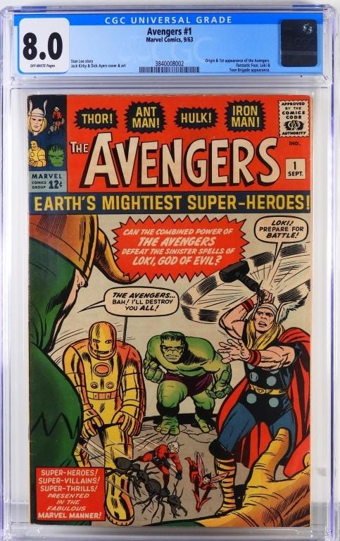 Marvel Comics 'Avengers #1', with the origin and first appearance of the Avengers, plus the Fantastic Four, Loki, and Teen Brigade, estimated at $18,000-$24,000