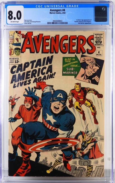 Marvel Comics 'Avengers #4', featuring the first Silver Age appearance of Captain America, estimated at $3,000-$5,000