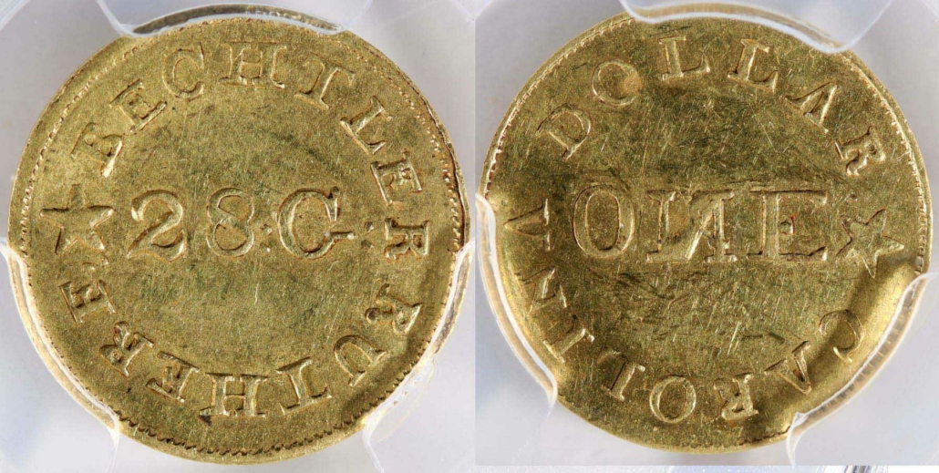 Bechlter one dollar US gold coin, circa 1838, estimated at $5,000-$10,000