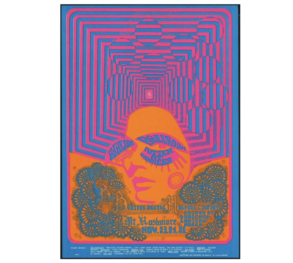 Big Brother and the Holding Company November 1967 concert poster, est. $50-$100