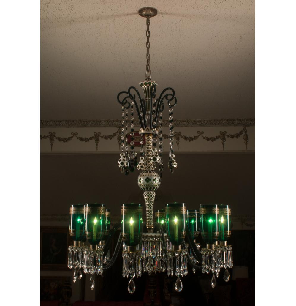 Bohemian glass chandelier, est. $8,000-$12,000