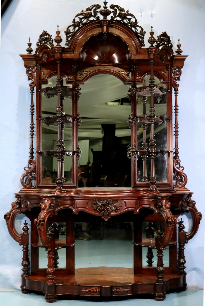 Rosewood Victorian etagere attributed to Thomas Brooks, estimated at $5,000-$7,500