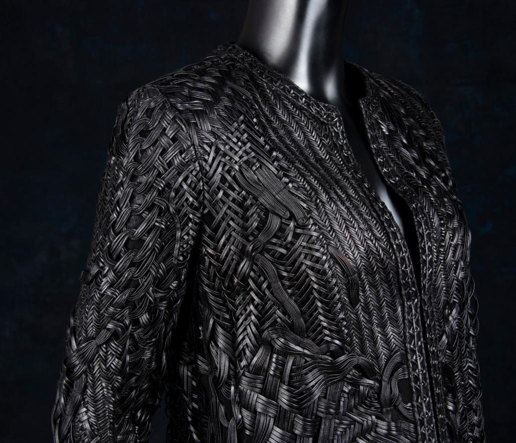 Detail shot of Chado Ralph Rucci woven leather jacket, est. $2,000 - $4,000