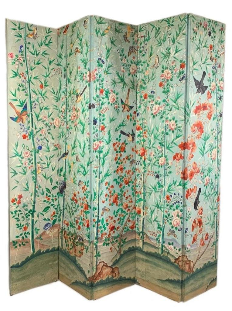 Chinese five-panel wallpaper screen, hand-decorated with a flower and bamboo garden on a pale blue ground, estimated at $3,000-$5,000
