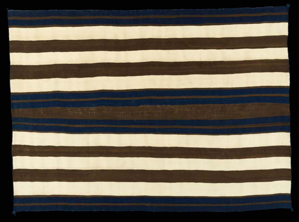 Navajo Classic period wearing blanket, first phase Ute, 1840-1860, single-ply handspun Churro wool, Lucke Collections, T015-2021,1