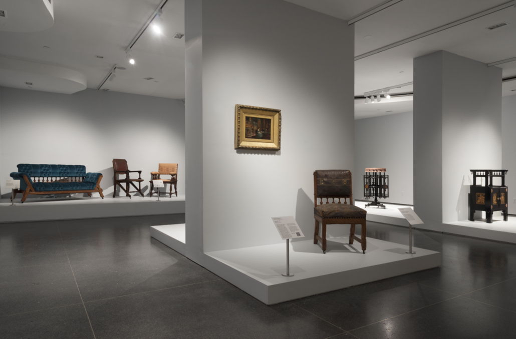 Installation view from Modern Gothic: The Inventive Furniture of Kimbel and Cabus, 1863-82, at the Brooklyn Museum of Art. Image courtesy of the Brooklyn Museum of Art.