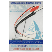 1961 poster promoting the debut of Disneyland's monorail, estimated at $8,000-$10,000