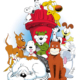 Lead image for 'The Dog Show: Two Centuries of Canine Cartoons.' Image Credit: Art by Eric Reaves. Snoopy © PNTS; Biscuit © Jan Eliot; Grimmy © Grimmy, Inc.; Marmaduke © UFS; Farley © Lynn Johnston Productions, Inc.; Otto © Comicana, Inc.; Earl © Patrick McDonnell; Odie © Paws; Snert © King Features Syndicate, Inc.; Dawg © Comicana, Inc.; Sandy © Tribune Media Services, Inc.; and Ruff © North America Syndicate, Inc. Used by permission.