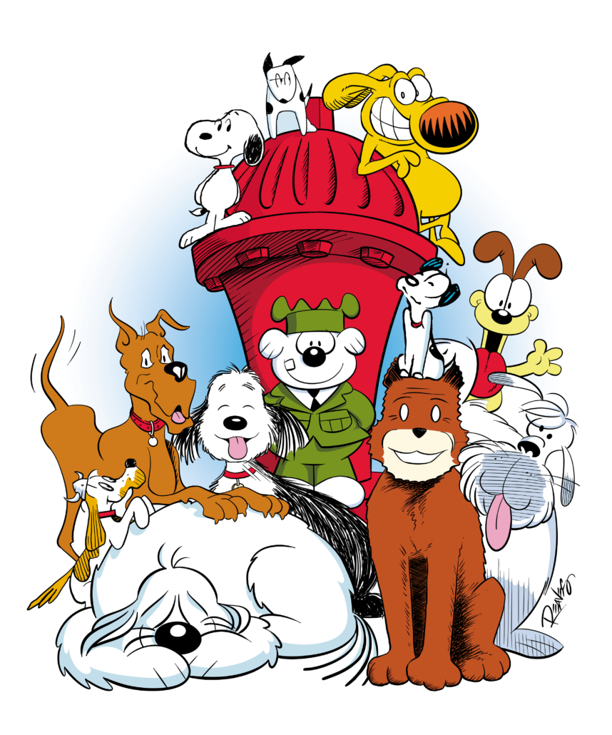 Image Credit: Art by Eric Reaves. Snoopy © PNTS; Biscuit © Jan Eliot; Grimmy © Grimmy, Inc.; Marmaduke © UFS; Farley © Lynn Johnston Productions, Inc.; Otto © Comicana, Inc.; Earl © Patrick McDonnell; Odie © Paws; Snert © King Features Syndicate, Inc.; Dawg © Comicana, Inc.; Sandy © Tribune Media Services, Inc.; and Ruff © North America Syndicate, Inc. Used by permission.