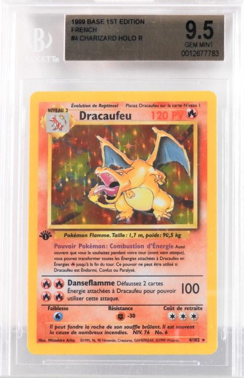1999 French Pokemon base 1st edition Dracaufeu (Charizard) holographic trading card, estimated at $20-$10,000