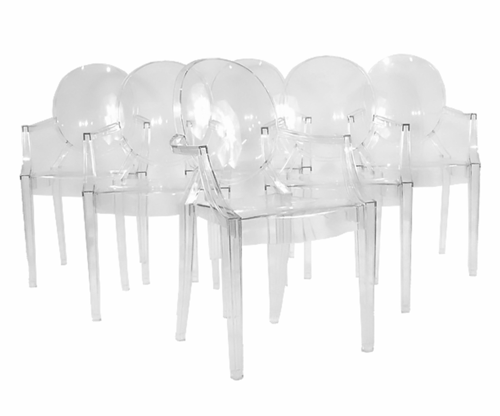 Set of six Philippe Starck ghost chairs, estimated at $800-$1,200