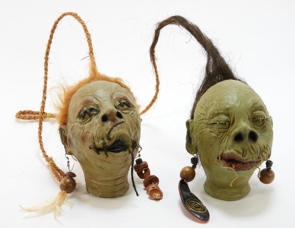 Two prototype shrunken heads from Universal Studios' Wizarding World of Harry Potter, estimated at $800-$1,200