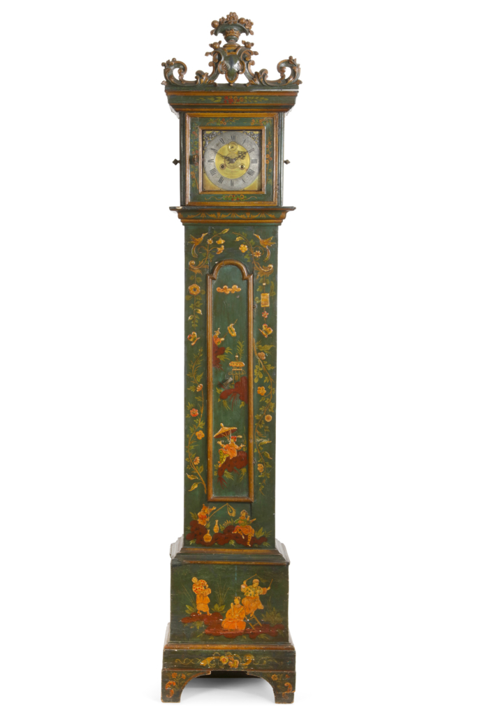 Italian Rococo decorated tall case clock from the Collection of Daniel Hornbeck, estimated at $1,000-$1,500