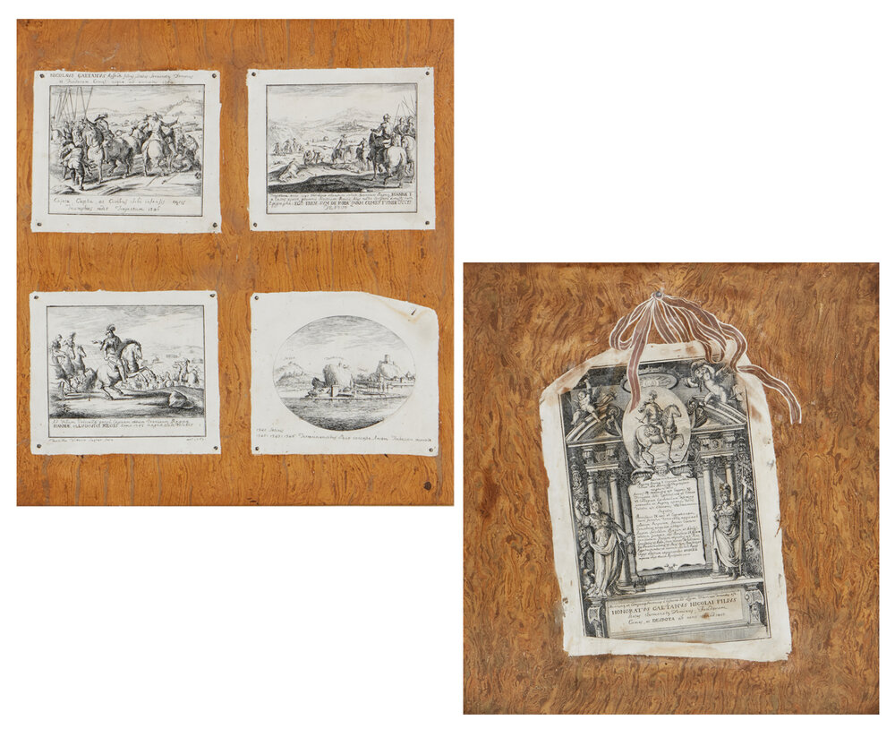 Pair of Italian scagliola trompe l'oeil panels by Tarsilla Vittoria Seyter, estimated at $8,000-$12,000
