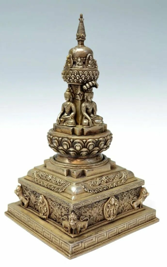 A Buddhist stupa designed to hold consecrated Buddhist relics sold in 2012 for $275 plus the buyer's premium at Austin Auction Gallery.