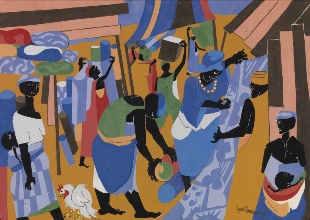 Jacob Lawrence (American, 1917–2000), 'Market Scene,' 1966, Gouache on paper. Museum purchase, 2018.22 © Jacob Lawrence / Artists Rights Society (ARS), New York