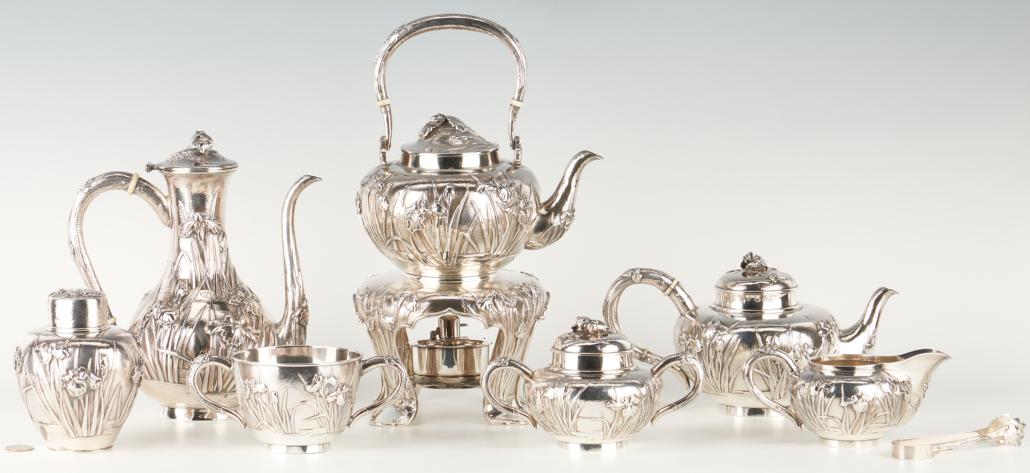 Eight-piece Meiji Japanese silver tea set, estimated at $4,800-$5,200
