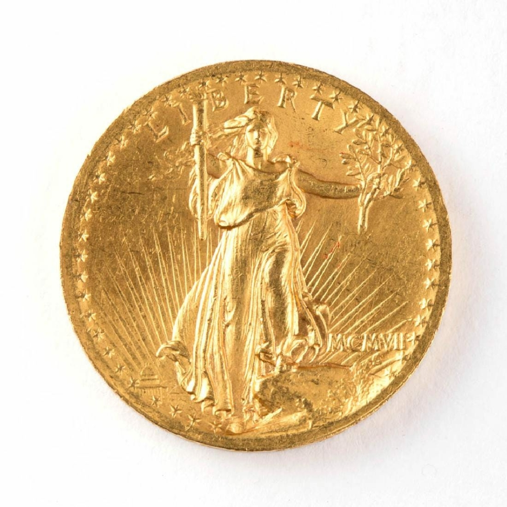 1907 US $20 Saint-Gaudens high-relief wire-rim gold coin, which sold for $17,430 on June 16, 2017 at Jeffrey S. Evans & Associates in Mt. Crawford, Va.