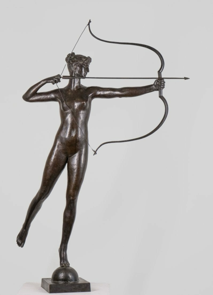 Circa-1895 bronze sculpture by Augustus Saint-Gaudens titled 'Diana', which sold for $518,400 on Jan. 23, 2021 at Keno Auctions in New York.