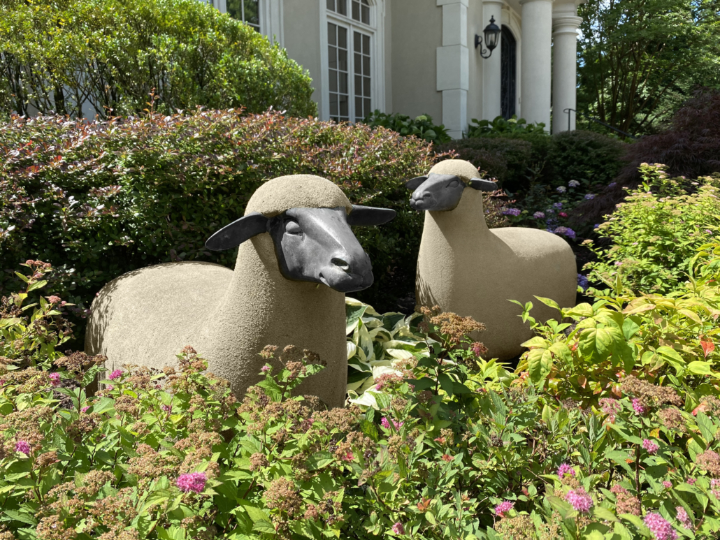 Two of five Francois-Xavier Lalanne 'Mouton de Pierre' in the November auction, each estimated at $100,000-$150,000