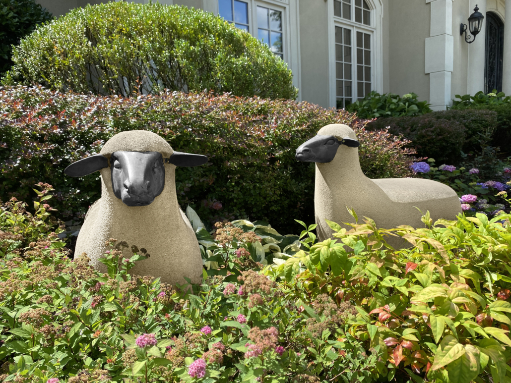 A flock of five Francois-Xavier Lalanne 'Mouton de Pierre' will be offered on November 17, each estimated at $100,000-$150,000.