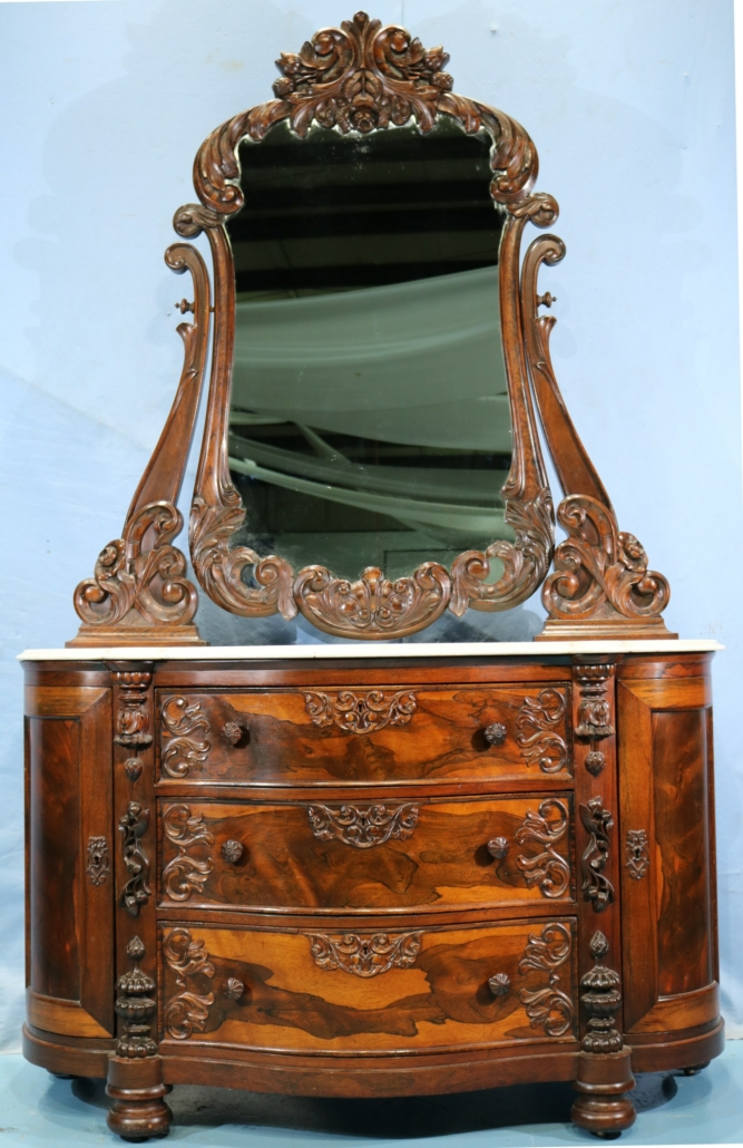 Rosewood marble-top dresser attributed to Mitchell & Rammelsberg, estimated at $2,000-$3,000