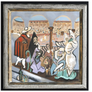A mixed-media painting attributed to Pablo Picasso, which sat in a closet in Maine for 50 years, sold at John McInnis Auctioneers on June 16 for $150,000 plus the buyer's premium.