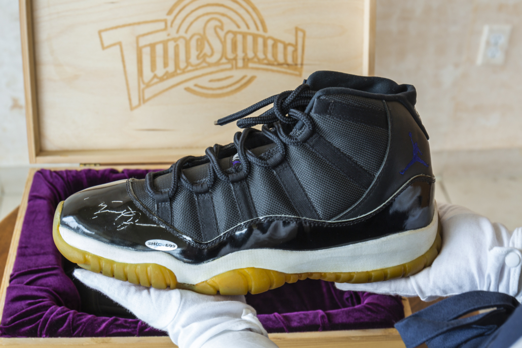 This pair of Air Jordan 11s was made to Jordan's specifications, and are the same model he wore on screen in the climactic basketball game in the 1996 film Space Jam. Image courtesy of Sotheby's.