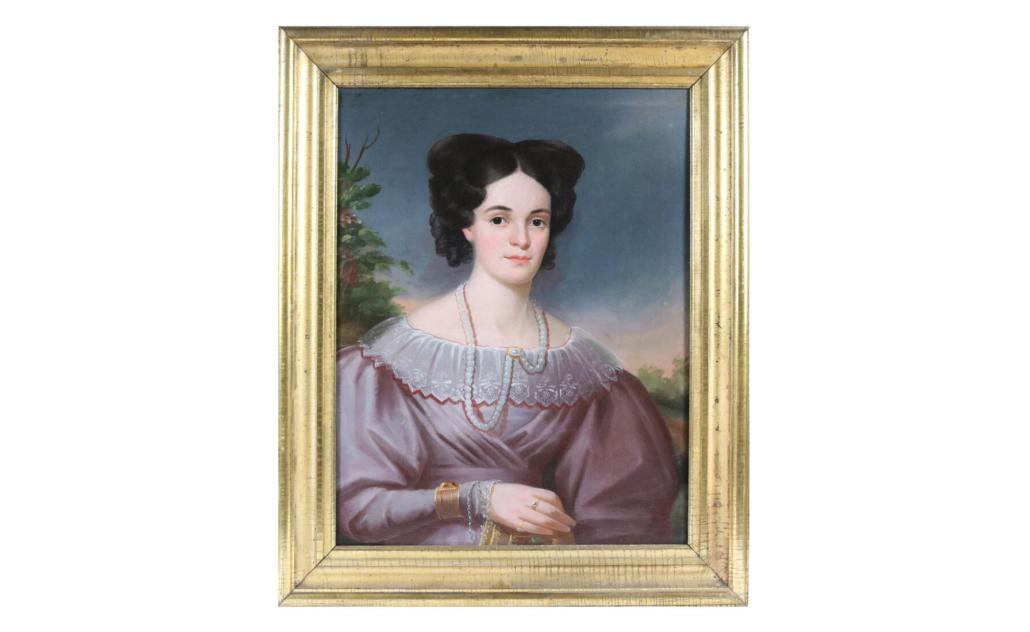 Oil on canvas portrait of Amanda Hollister by Milton Hopkins, estimated at $1,500-$3,000