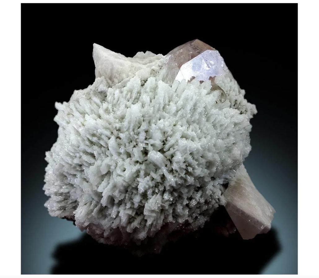 Natural morganite crystal containing quartz and albite, estimated at $1,500-$2,000