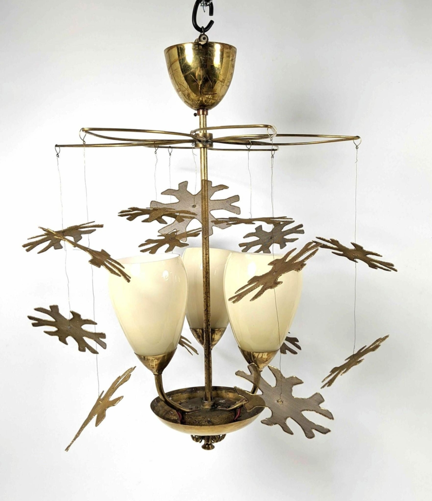 Diminutive Modernist lighting snowflake chandelier attributed to Paavo Tynell, estimated at $3,000-$4,000