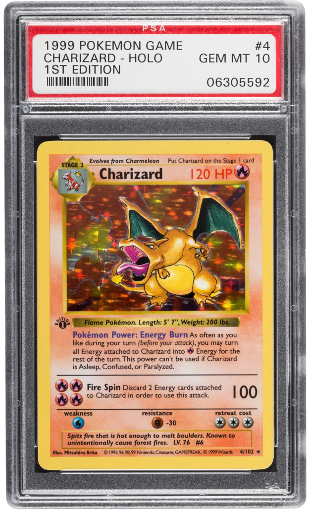 Pokemon Charizard #4 First Edition Base Set trading card, $264,000