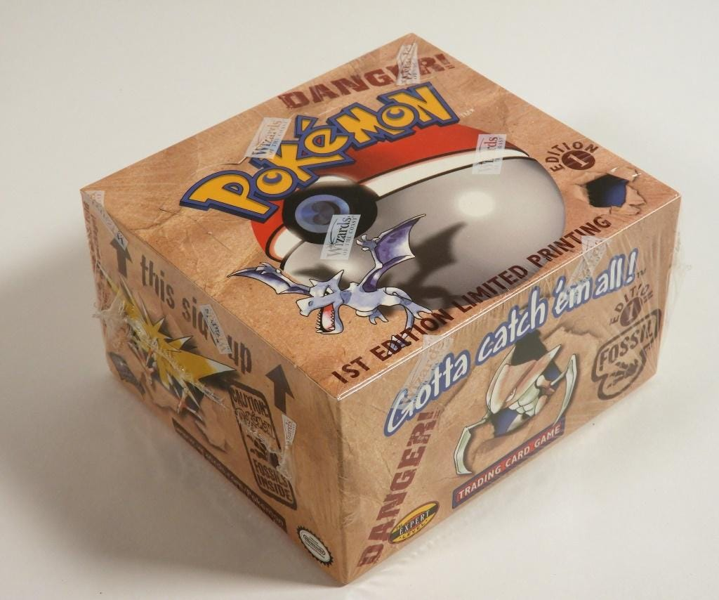 1999 Wizards of the Coast Pokemon Fossil first edition factory sealed booster box, which sold for $13,750