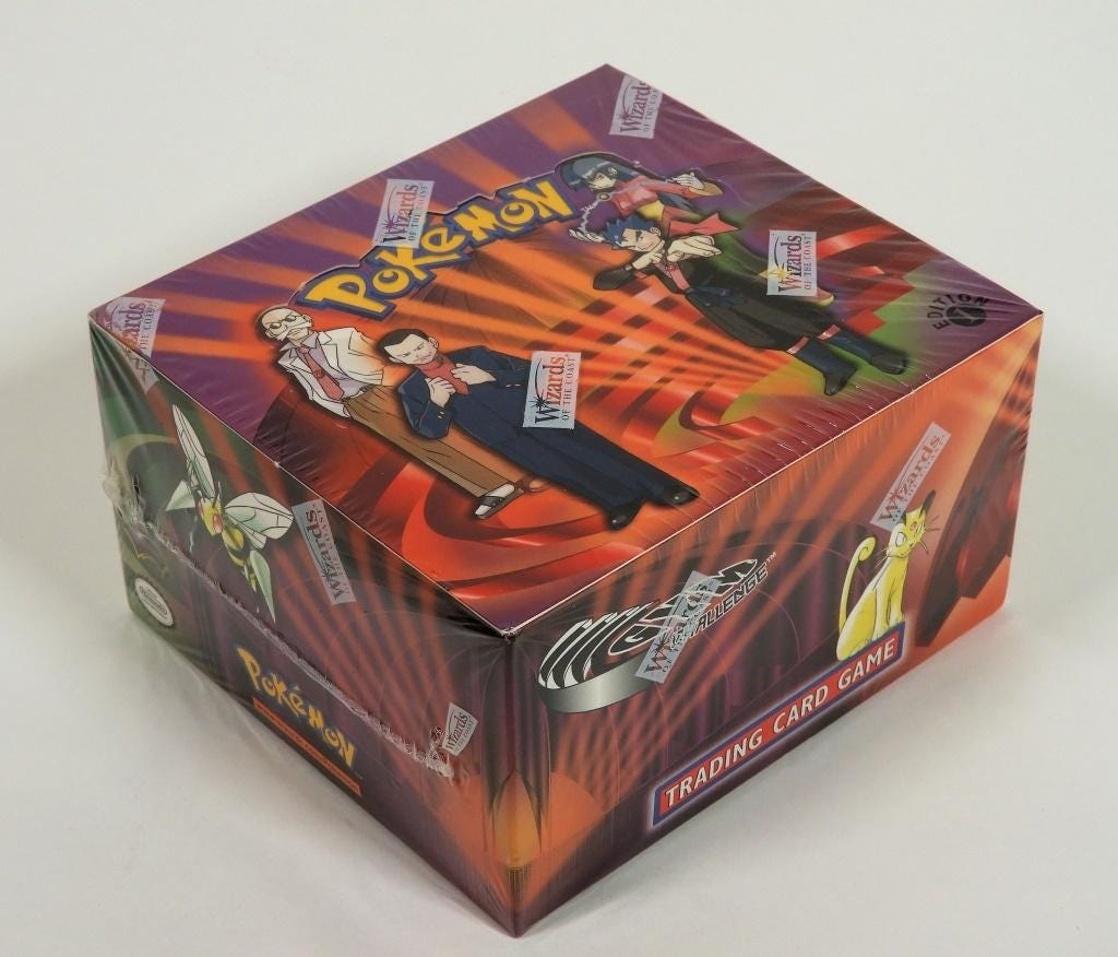 Wizards of the Coast Pokemon Gym Challenge 1st edition factory sealed booster box from 2000, estimated at $20-$10,000