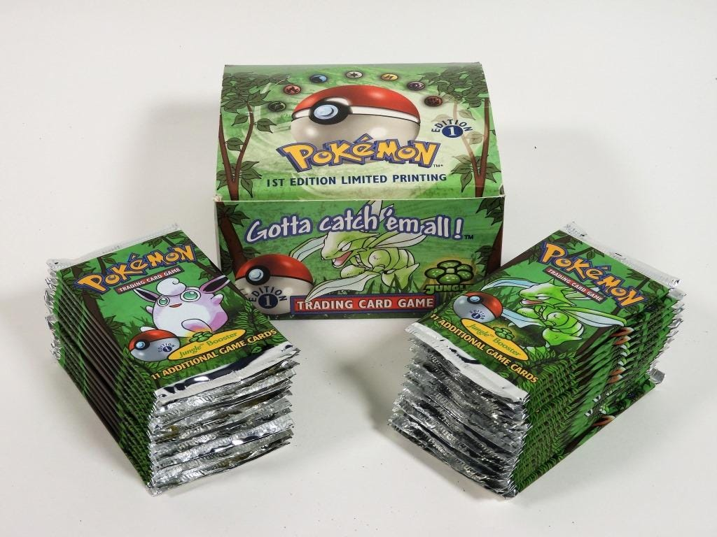 Group of 30 factory-sealed 1999 Pokemon Jungle 1st edition trading card packs in the original booster box, which sold for $11,250