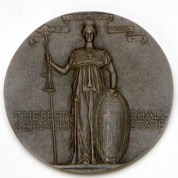 This Women's Auxiliary of the Massachusetts Civil Service Reform Association Presentation Medal by Augustus Saint-Gaudens sold for $11,025 on May 12, 2007 at Rago Arts & Auction Center in Lambertville, N.J.