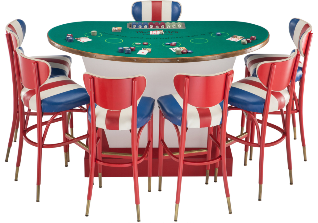 Black jack table with seven stools and gaming pieces, est. $2,000-$3,000