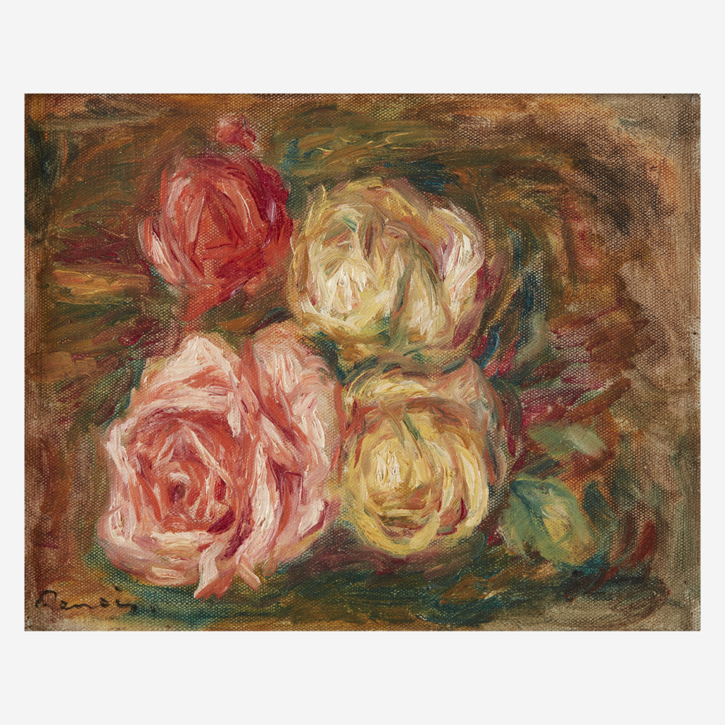 A 1917 Renoir painting of roses sold for $240,000 plus the buyer's premium on February 23.