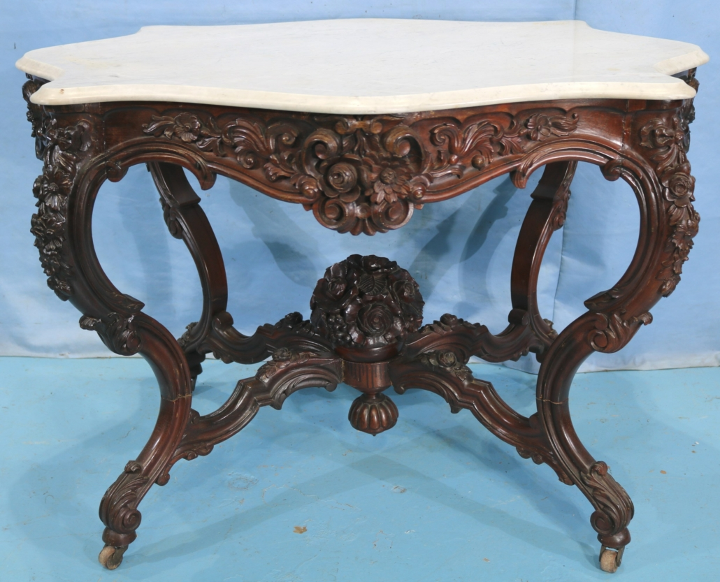 Rosewood rococo marble-top center parlor table attributed to Alexander Roux, estimated at $2,500-$5,000