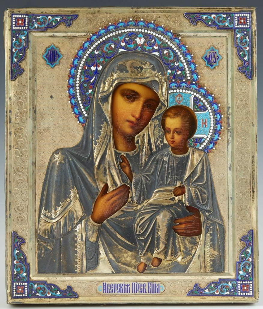 Russian icon of the Virgin of Kazan by Sergeyevich Lebedkin, estimated at $500-$1,000