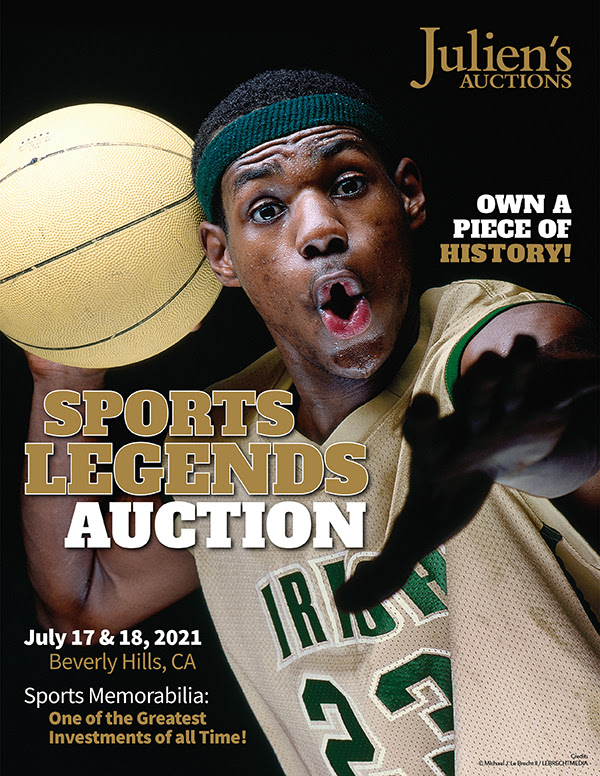LeBron James wore the basketball jersey on the cover of a February 2002 issue of Sports Illustrated, which added value to the garment. Sports Illustrated magazine photographer credit: Michael J. LeBrecht II/LEBRECHTMEDIA