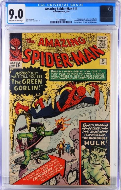 Marvel Comics 'Amazing Spider-Man #14', featuring the first appearance of the Green Goblin and the first meeting of Hulk and Spider-Man, estimated at $10,000-$15,000