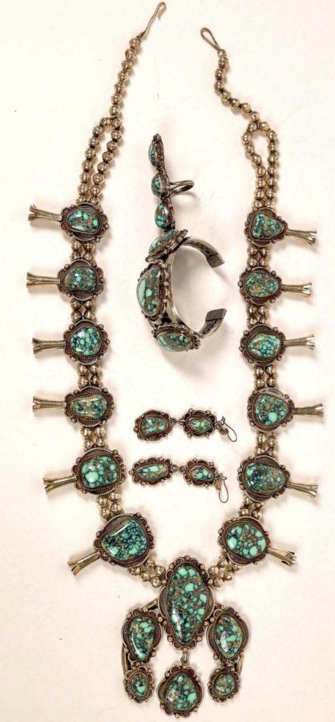 Vintage No. 8 Mine Navajo turquoise jewelry set, estimated at $3,000-$5,000