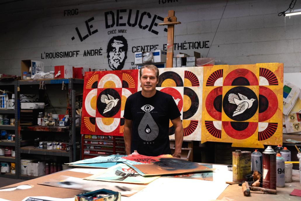 Fairey pictured in his studio.