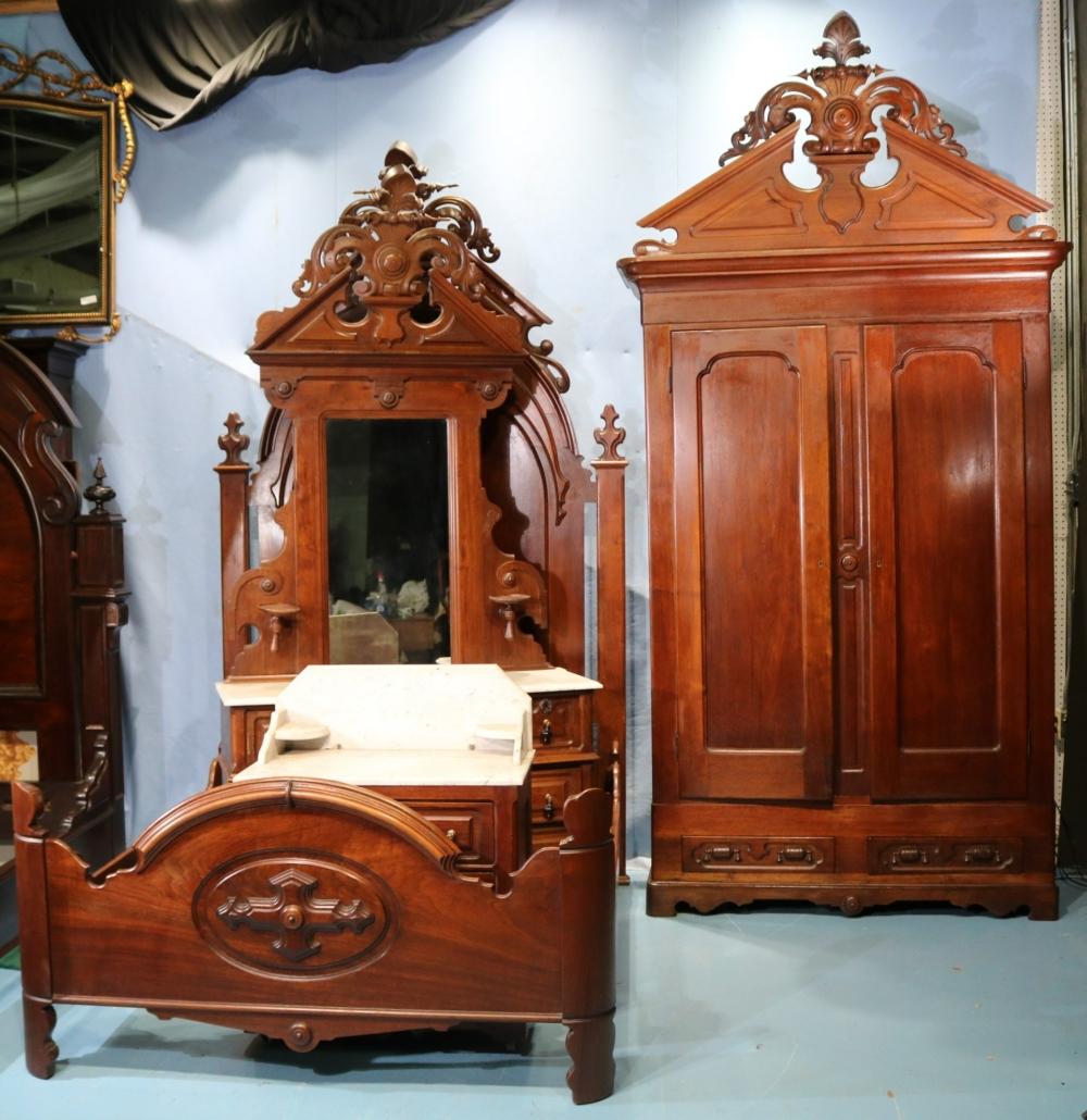 Walnut Victorian four-piece bedroom suite, estimated at $3,000-$5,000