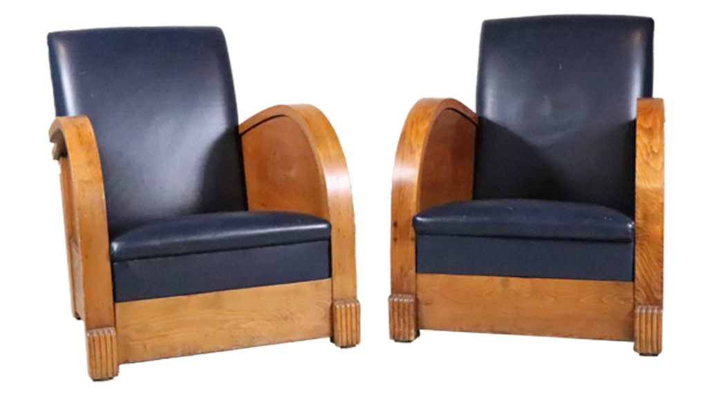 Pair of English Art Deco blue-leather walnut club chairs, estimated at $1,000-$2,000