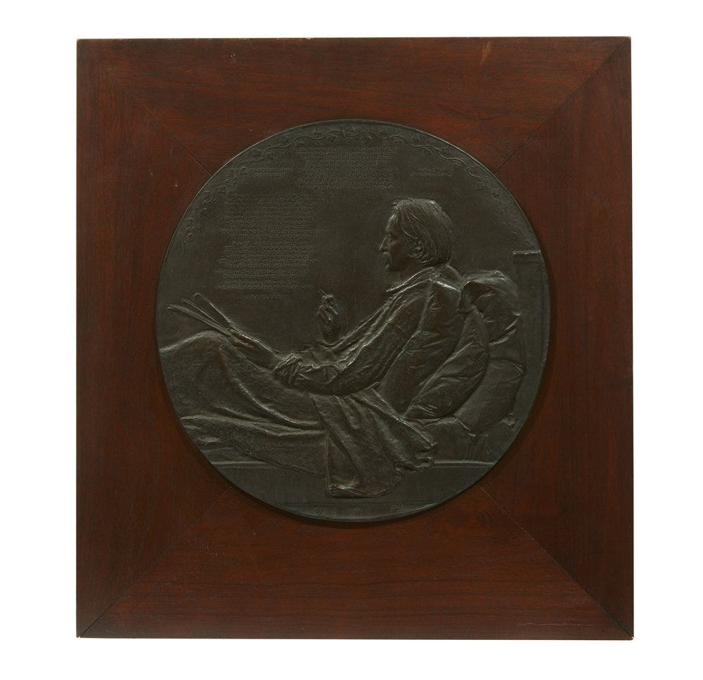 This circa-1893 framed bronze tondo portrait of Robert Louis Stevenson by Augustus Saint Gaudens sold for $28,350 on Jan. 16, 2020 at Witherell's in Sacramento, Calif.