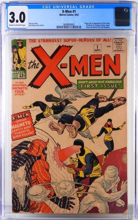 Marvel Comics 'X-Men #1,' featuring the first appearance of the X-Men and Magneto, estimated at $7,000-$10,000
